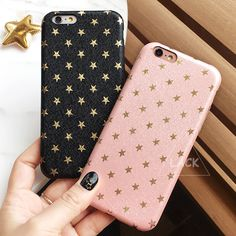 Moda ultra delgada caso del patrón de estrellas de oro para iphone 6 caso para el iphone 6 S 6 Más 5 5S SÍ Cajas Del Teléfono Lindo de La Contraportada Funda Capa