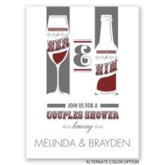 Wine + Beer themed couples shower invite. Perfect for a guy and gal. From Invitations by Dawn.