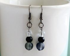 Frosted gray black and clear beaded drop earrings by FfigysDesigns, £4.00