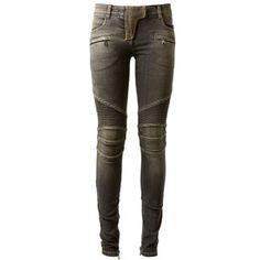 Balmain Black Washed Biker Jeans