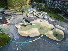 Fyrens lekpark, Kärrtorp | Nyréns Arkitektkontor Modern Playground, Playground Games, Playground Design, Kindergarten Interior, Kindergarten Design, Landscape Design Plans, Landscape Architecture Drawing, Parque Linear, Landscape Stairs