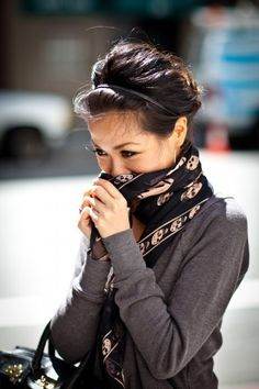 dark sweater, scarf, great second day hair with headband