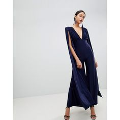 29aa4d17349 Shop Club L Power Shoulder Cape Sleeves Detailed Slinky Wide Leg Jumpsuit at  ASOS.