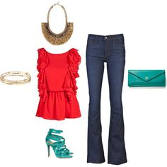 Red and turquoise are the perfect complimentary colors, and also a touch unexpected. Add a unique necklace to this ultra-feminine shirt for contrast and a wow factor. www.stelladot.com/christinebaranowski