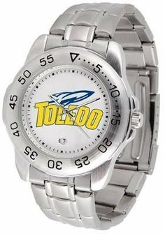 Toledo Rockets NCAA Mens Sports Steel Watch by SunTime. $54.95. Links Make Watch Adjustable. Men. Calendar Function With Rotating Bezel. Stainless Steel-Scratch Resistant Crystal. Officially Licensed Toledo Rockets Men's Stainless Steel Logo Watch. This handsome eye-catching Mens Sport Watch with Steel Band comes with a stainless steel link bracelet. A date calendar function plus a rotating bezel/timer circles the scratch resistant crystal. Sport the bold colorful h...