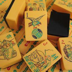 Vtg, 1930s, Hawk Bam, Black Wafer Back, Chinese Bakelite Mahjong Set,152 Tiles