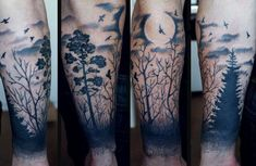 Image result for wolf howling at moon forest tattoo