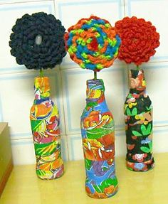 diy home projects Glass Bottle Crafts, Diy Bottle, Bottle Art, Glass Bottles, Cute House, Altered Bottles, Bottle Painting, Decoupage, Mason Jars