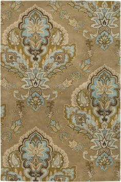 rug - gold blue tan grey