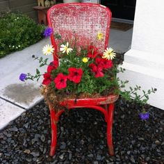 Transform old chairs with flower pots