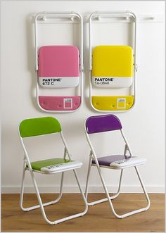 Pantone Colour Chairs by The Holding Company…  For those that don't know, Pantone is the standardised system for the selection and accurate communication of color. Every conceivable color has its own reference number, used globally throughout the design industry. These funky folding chairs are a bit of an in-joke, showing as they do specific colors and their reference codes. A benefit to this is that you can be certain of precisely which color you'll be getting. (via)simko:
