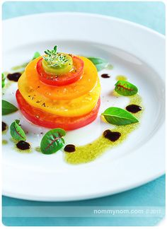 Tomato salad. I would add slices of mozzarella between each tomato.