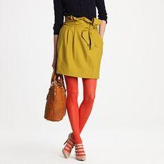 orange tights; paper bag skirt