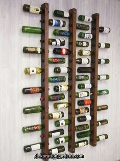 Wine rack 16 bottle ladders set of 3 # bottle ladders # wine .- Weinregal 16 Flaschenleitern Set Wine rack 16 bottle ladders set of 3 shelf - Drywall Installation, Rough Wood, Small Space Storage, Tuscan Design, Creative Storage, Storage Ideas, Storage Organization, Creative Ideas, Wine Storage
