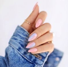 What manicure for what kind of nails? - My Nails Cute Acrylic Nails, Cute Nails, Pretty Nails, Unicorn Nails Designs, Ombre Nail Designs, Almond Shaped Nail Designs, Ombre Nail Art, Round Nail Designs, Oval Nail Art