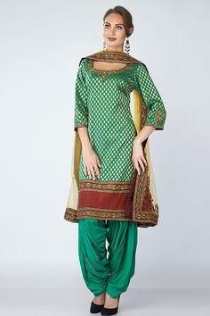 Leaf Green Brocade Patiala Suit