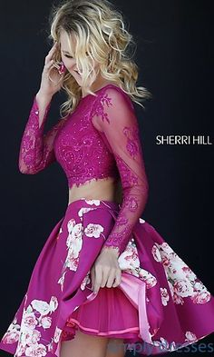 Shop two-piece print prom dresses and short party dresses at Simply Dresses. Floral-print party dresses and Sherri Hill short prom dresses.