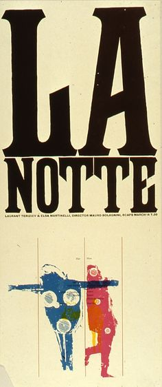 La notte, Brian Haynes, Royal College of Art, between David Gentleman, Royal College Of Art, Poster, Collection, Movie Posters