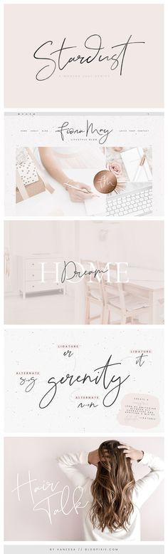Stardust ☆ A modern signature font in handwritten style for creative logos, blog, branding, wedding invitations and design. Feminine and elegant with bonus free textures included. Find fonts by Blog Pixie at Creative Market.