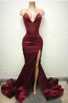 Sexy V Neck Burgundy Side Slit Mermaid Long Evening Prom Dresses 4d3fa59da836