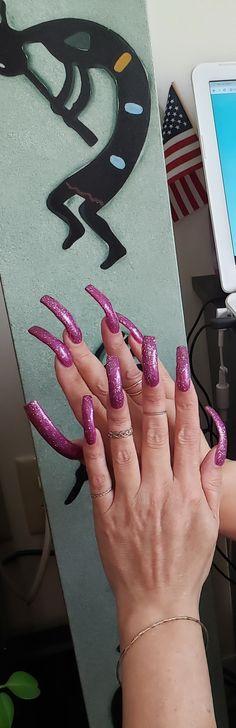 Curved Nails, Long Nails, Pretty Nails, Nail Colors, Nail Designs, Hair Beauty, Nail Art, Fancy, Slim