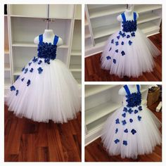 Royal Blue and White Flower Girl Tutu Dress image 0 Princess Tutu Dresses, Baby Tutu Dresses, White Flower Girl Dresses, Flower Girl Tutu, Little Girl Dresses, Tulle Dress, Baby Dress, Girls Dresses, Baby Skirt