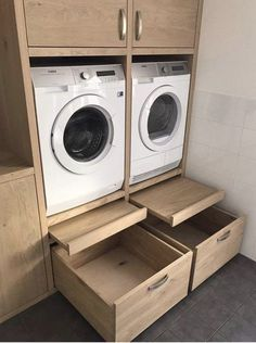 Like the pull out platform/shelf for loading and unloading, setting basket down, etc. Also the large drawers at bottom. Machine units look to be at a … – Laundry Room Room Organization, Laundry Room Design, Laundry Design, House Design, Room Diy, Large Drawers, Laundry In Bathroom, House Interior, Room Design