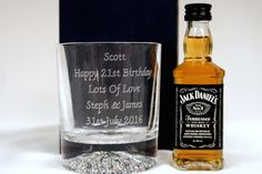 Engraved Crystal Glass & Miniature Jack Daniels Gift