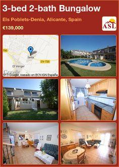 3-bed 2-bath Bungalow in Els Poblets-Denia, Alicante, Spain ►€139,000 #PropertyForSaleInSpain