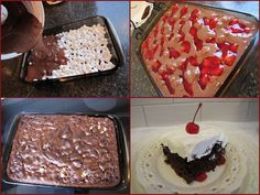 Easy as Pie filling cake: .Ingredients: 4 cups mini-marshmallows 1 chocolate cake mix, 1 can cherry pie filling, 1 large container of Cool Whip Method: Pour four cups of mini-marshmallows into a greased inch cake pan. Tolle Desserts, Köstliche Desserts, Delicious Desserts, Dessert Recipes, Chocolate Cherry Cake, Chocolate Cake Mixes, Cherry Brownies, Black Forest Torte Recipe, Canning Cherry Pie Filling
