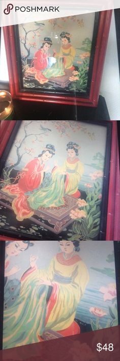"""Vintage H.Calpini 1940's Japanese Picture printin Japanese scene picture signed H.Calpini Dated from the 40's Looks to be a painting,but maybe a print It is under glass and framed in a red faux bamboo frame Measures 14""""x17"""" Nice vintage condition with a few rubs in the frames finish Vintage Other"""