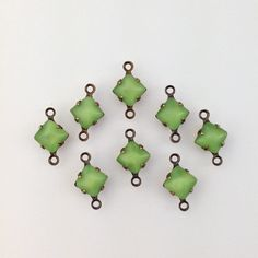 Green Moonglow Square Glass Stones in 2 Loop by yummytreasures