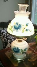 Vintage GWTW White Milk Glass Electric Hurricane Table Parlor Lamp Blue Flowers---Vintage 1970's Milk Glass Hurricane Lamp blue roses - Google Search