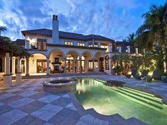 This elegant pool is beautifully lit.