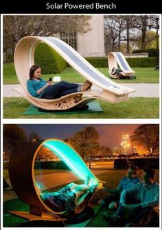 I like this, it looks stylish, it's environmentally friendly and functional... http://www.fastcodesign.com/1663973/mits-soft-rockers-solar-power-stations-double-as-lawn-furniture#2