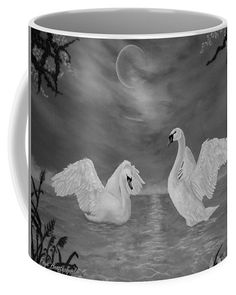 Swans Coffee Mug featuring the drawing Nocturnal Dance by Faye Anastasopoulou Fusion Art, Ocean Scenes, Mugs For Sale, My Themes, Swans, Basic Colors, Artist At Work, Color Show, Colorful Backgrounds