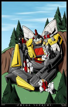 Omega Supreme and Aerialbots by WaywardInsecticon.deviantart.com
