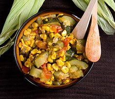 ZUCCHINI WITH CORN Serves: 2 INGREDIENTS : 1 large zucchini, quartered and sliced 1 can of corn or fresh corn when in season 1 large tomato, roughly chopped 1 small white onion,finely chopped 2 garlic cloves, minced salt, to taste ground black...