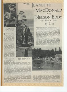 """Just enlarge the pics so you can read the article titled """"With Jeanette MacDonald and Nelson Eddy On Location by Liza"""" Sorry, no info on which magazine or date of issue. Part 1 (ESCANO COLLECTION)"""