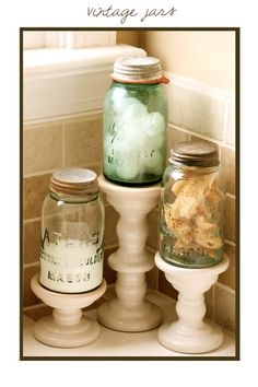 Bathroom storage ideas with mason jars from {the vintage wren}{ around the nest }