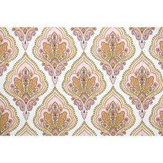 Retro Wallpaper by the Yard 60s Vintage Wallpaper 1960s Pink Orange... (27 CAD) ❤ liked on Polyvore featuring home, home decor, wallpaper, pink wallpaper, damask home decor, orange home decor, white wallpaper and orange wallpaper