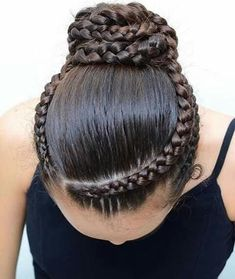 BALLET BUN for dancing class. We did this style middle of December. Hope you like the three dutch braids combined into a bun! Ballet Hairstyles, Braided Hairstyles, School Hairstyles, Braided Ponytail, Updo Hairstyle, Everyday Hairstyles, Gymnastics Hairstyles, Wedding Hairstyles, Hairstyles Videos