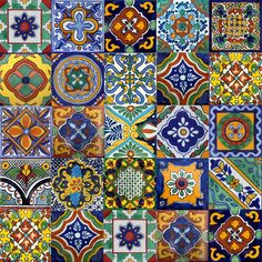Mexican talavera tiles - a type of earthenware pottery. Tiles are hand thrown on a potter's wheel and glazes contain tin and lead. Only six colours are allowed in talavera tiles; blue, yellow, black, green, orange and mauve. These colours are made from natural pigments.