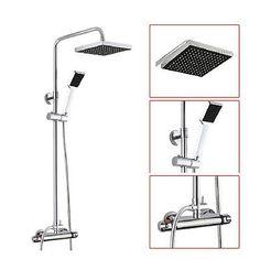 """Chrome Thermostatic Rain Bath Shower Set Mixer Tap 8""""Square Shower Head Faucet"""