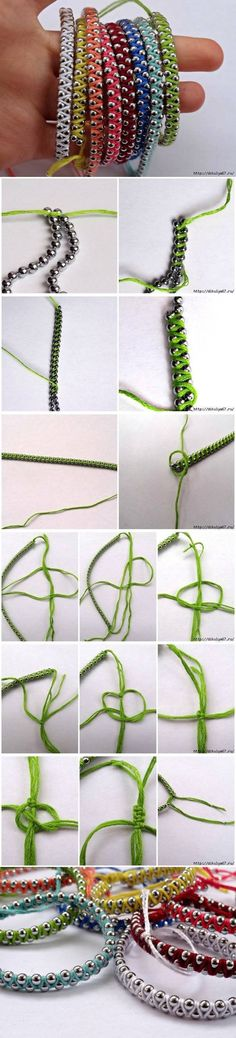 DIY bracelets/necklaces from beadball chain and embroidery floss.