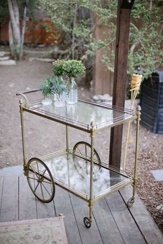 Backyard sustainable dinner party, greenery, bar cart