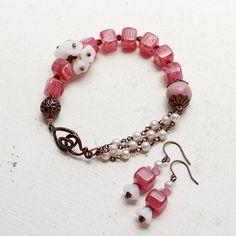 Cherry Pink Glass White Flower Glass Rhodonite by YuniDesigns