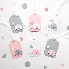 Set of 12 Elephant Tags Pink Grey Elephant Baby Girl Shower | Etsy