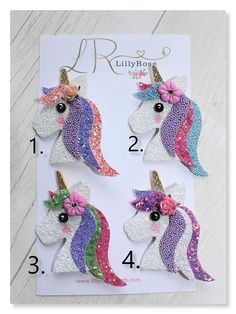 Handmade Magical Glitter Unicorn Hair Clips. 4 to choose from.