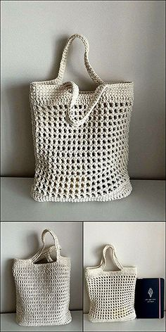 Advance and less costly Free Crochet patterns - Diy & Craft Gilet Crochet, Crochet Tote, Crochet Purses, Crochet Yarn, Free Crochet, Crochet Baskets, Knitting Patterns, Crochet Patterns, Crochet Market Bag
